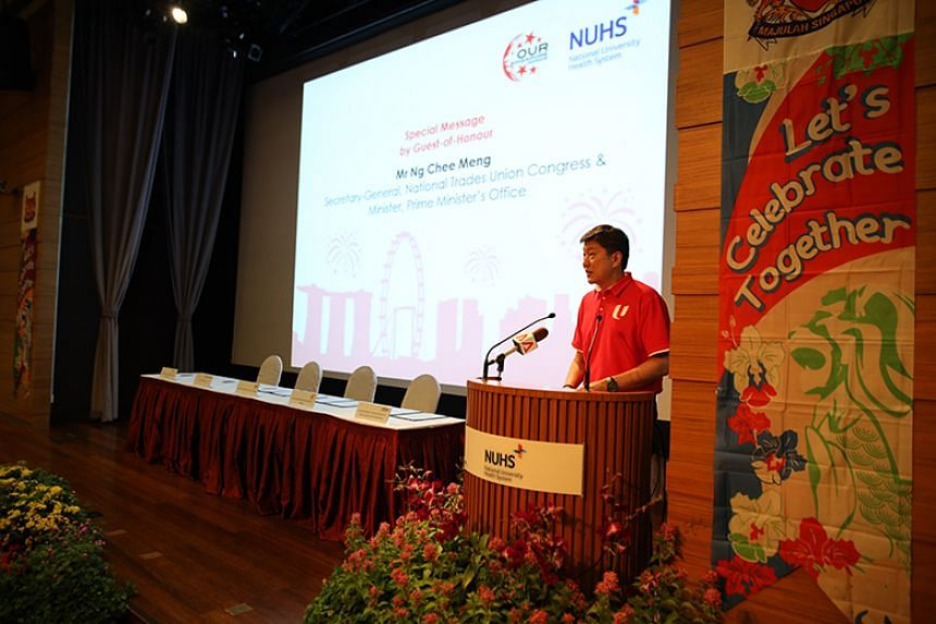 NTUC secretary-general Ng Chee Meng addressing management and staff of the National University Health System (NUHS) and Labour Movement representatives at NUHS's National Day Observance Ceremony on Aug 29.