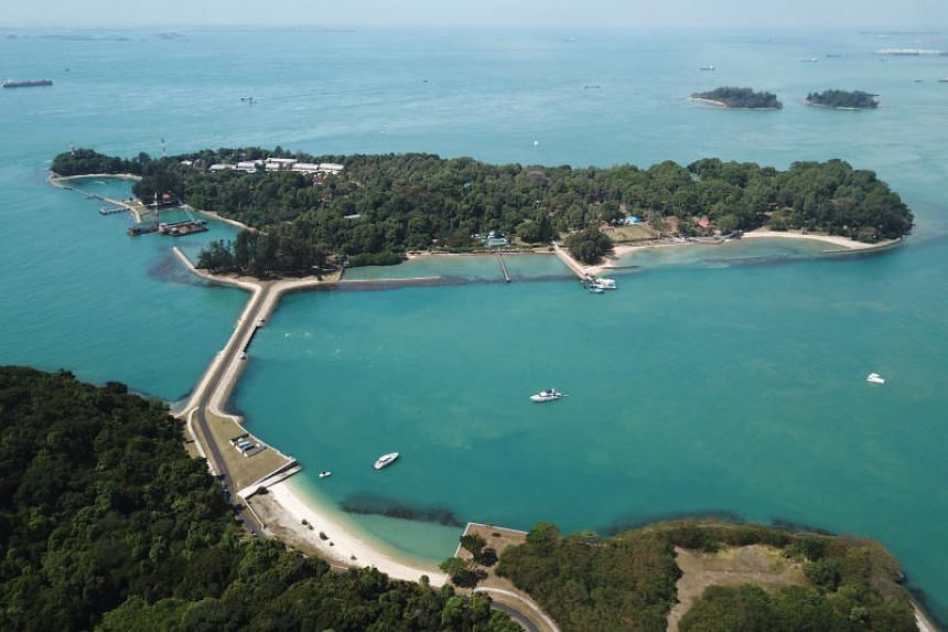 A photo taken on Feb 22 shows an aerial view of St John's Island. A trial involving the use of unmanned drones for the remote inspection and maintenance of Singapore's Southern Islands has begun.