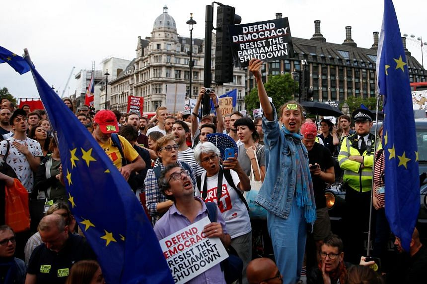 Anti-Brexit protestors hold placards and flags of the European Union, outside the Houses of Parliament in London on Aug 28, 2019.