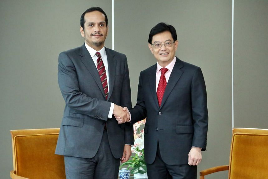 Deputy Prime Minister and Minister for Finance Heng Swee Keat meets Deputy Prime Minister and Minister of Foreign Affairs of Qatar Sheikh Mohammed bin Abdulrahman Al-Thani.