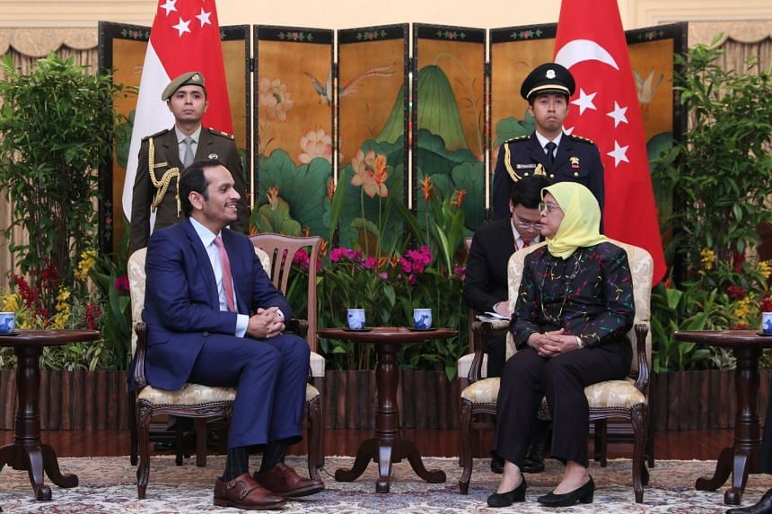 President Halimah Yacob meets Deputy Prime Minister and Minister of Foreign Affairs of Qatar Sheikh Mohammed bin Abdulrahman Al-Thani.