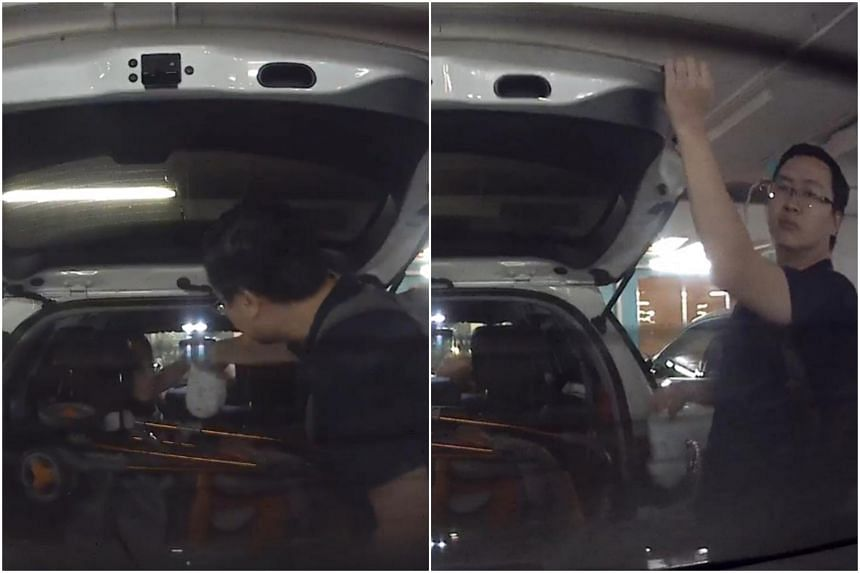 In a video, the man is seen collecting the soiled diaper from a person inside his car and throwing it onto the back of another vehicle.