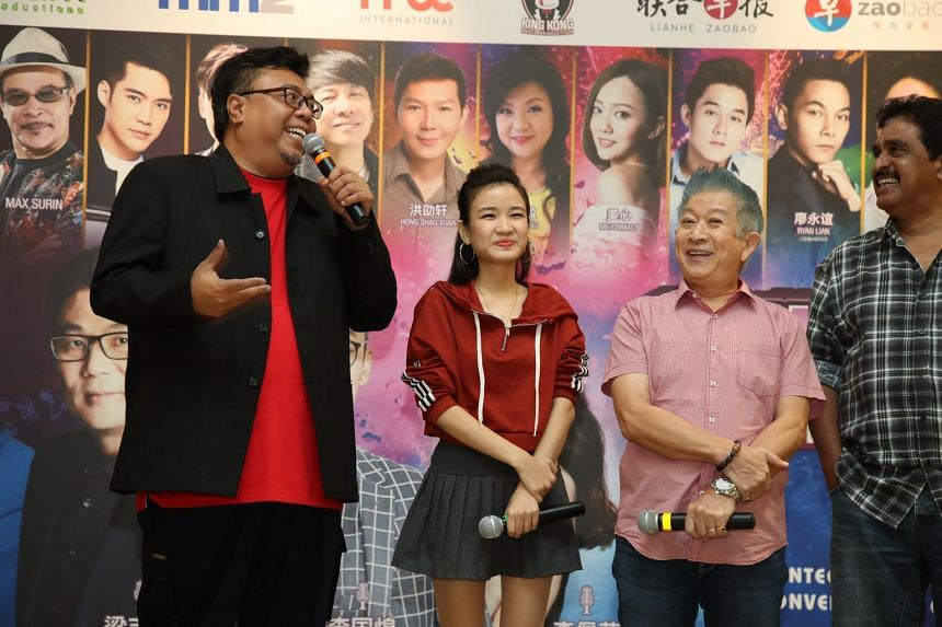 Local entertainers (from left) Suhaimi Yusof, Lee Pei Fen, Henry Thia, and P. Silvarajoo will perform at the Yesterday Once More concert.