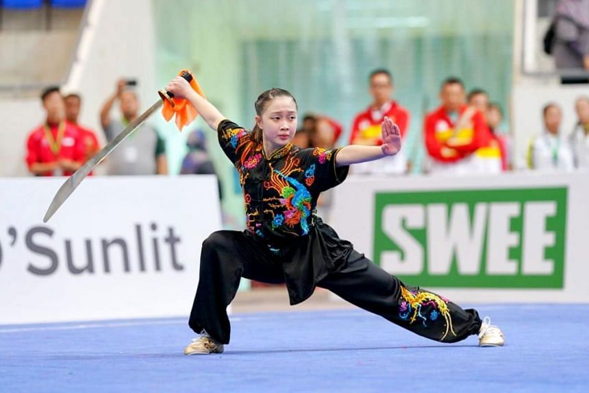 Zoe Tan, 15, exceeded her expectations with her three medal-haul at last week's Asian Junior Wushu Championships. The Singaporean won golds in the junior category (ages 13 to 15) of the girls' gunshu and daoshu and bronze in the changquan. In tot