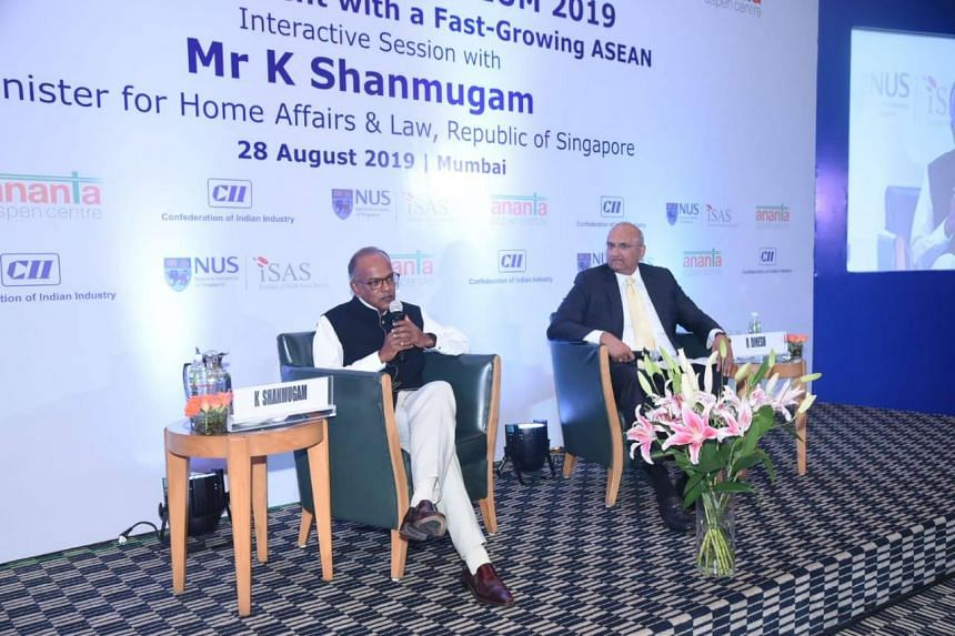 Minister for Home Affairs and Law K. Shanmugam speaking at Singapore Symposium 2019 in Mumbai on Aug 28, 2019.