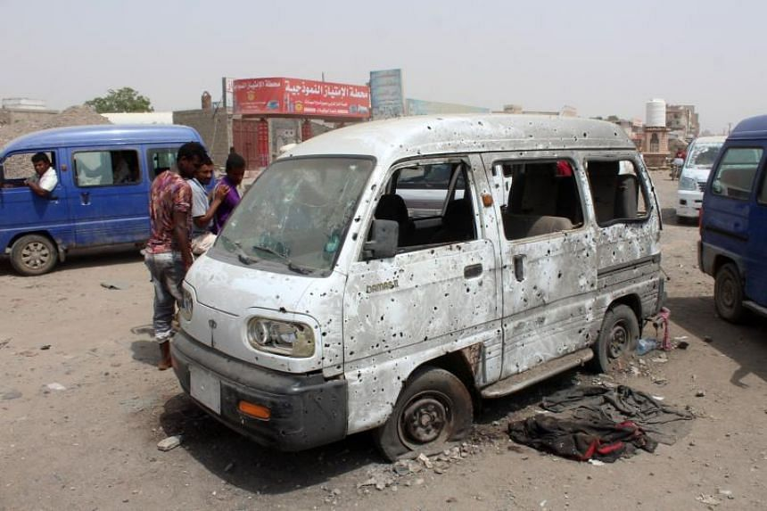 A van that was reportedly damaged following an air strike by the Saudi-led military coalition in the town of Dar Saad in Yemen's Aden province on Aug 29, 2019.