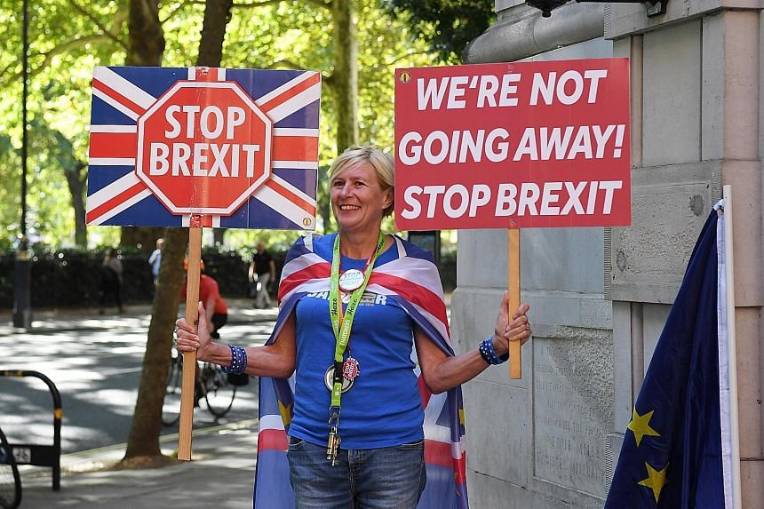 An anti-Brexit protester demonstrating in Westminster, London, yesterday. Although there is a parliamentary majority against a no-deal Brexit, the problem for those trying to corral the opposition groups is that they all want different things.