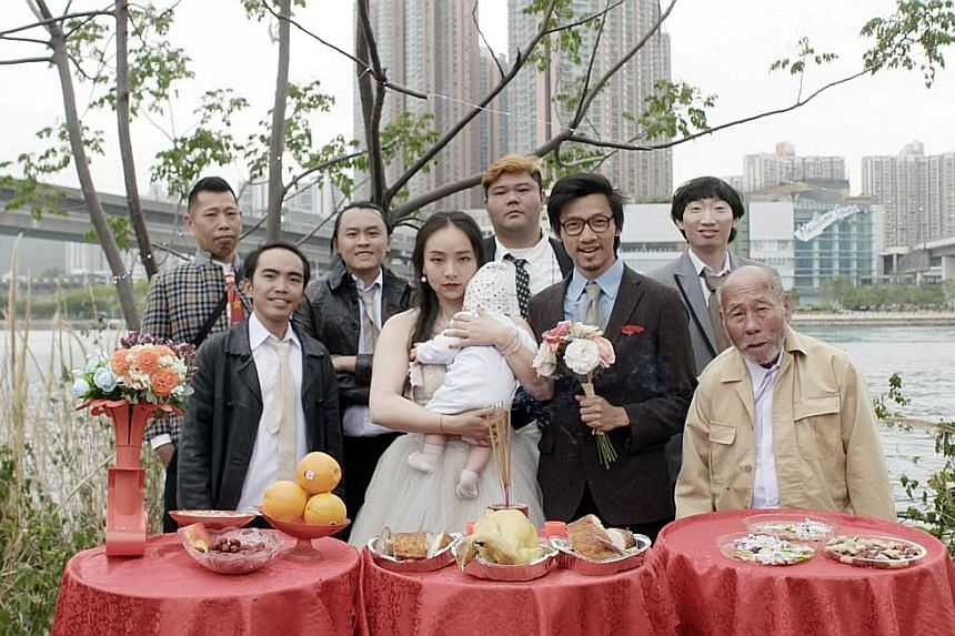 Chinese actress Chloe Maayan, and Chan Charm-man, above, third from right.