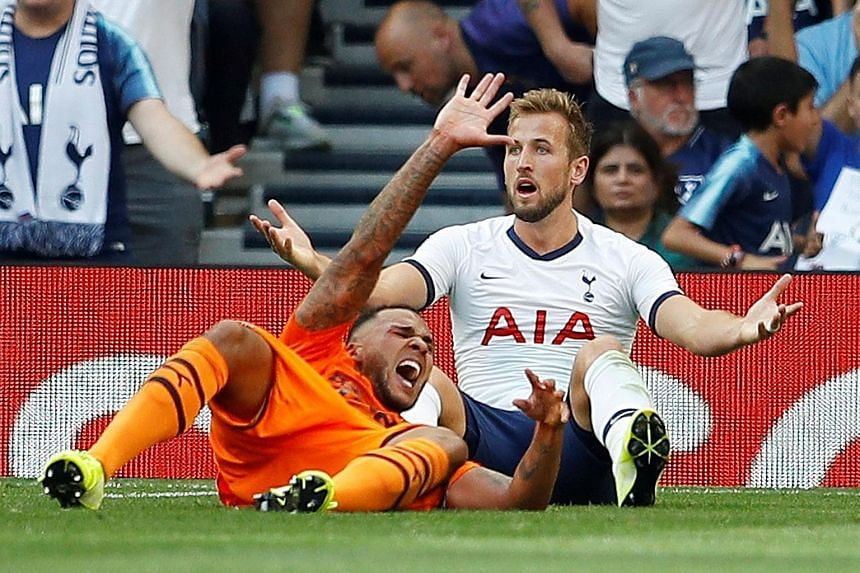 Tottenham striker Harry Kane appealing for a penalty in vain after he went to ground after a challenge by Newcastle's Jamaal Lascelles. Spurs lost 1-0, as their patchy start to the Premier League term left them on four points. PHOTO: REUTERS