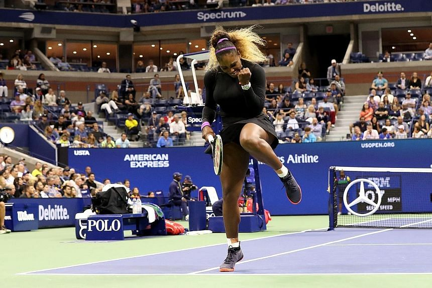 Serena Williams celebrating a point against Caty McNally during their second-round match. She dropped the opening set to the teenager, but recovered to maintain her record of never losing in the first two rounds of the US Open. PHOTO: AGENCE FRANCE-P