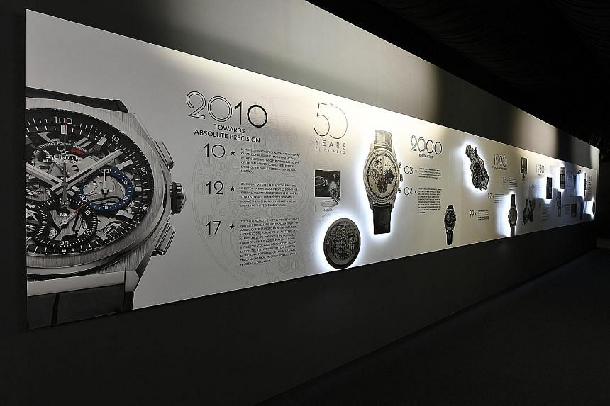 Zenith has pulled out all the stops for its interactive experience which includes 3D set-ups and displays of historical watches. Senior Zenith movement engineer Charles Vermot (left) defied his bosses' orders and hid plans, tools and parts of the El