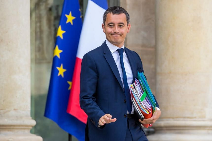 In a photo taken on Aug 21, French Economy Minister Gerald Darmanin leaves the Elysee Palace after the weekly Cabinet meeting in Paris.