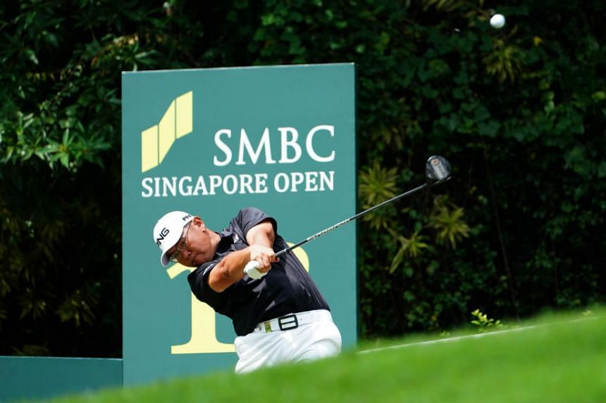Singaporean golfer Choo Tze Huang teeing off at the SMBC Singapore Open at Sentosa Golf Club.