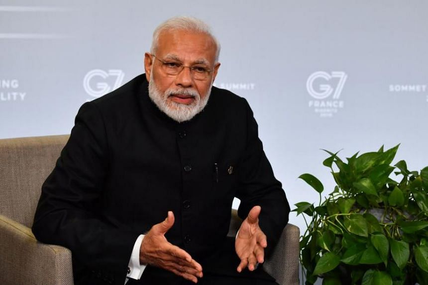 Indian Prime Minister Narendra Modi in Biarritz, France, on Aug 26, on the third day of the annual G-7 Summit.