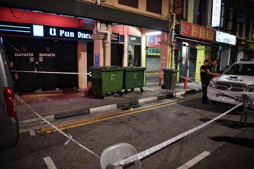 Police had cordoned off the area in front of the U Pub Disco in Geylang after the suspected incident on the morning of Aug 30, 2019.