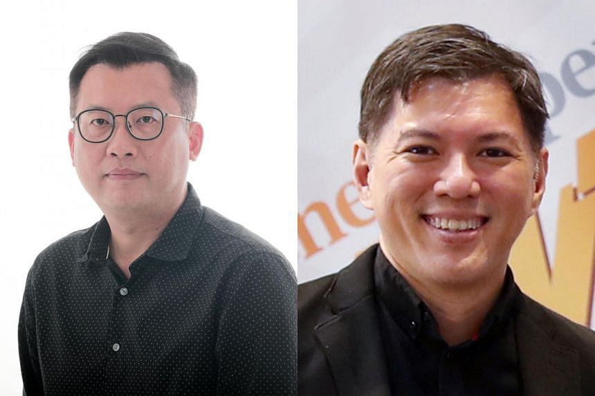 (Left) Mr Lim Han Ming, 44, will leave his role as ST deputy sports editor to take charge of The New Paper on Sept 1. (Right) Mr Eugene Wee, 44, will be the Sunday editor at The Straits Times and also supervising editor of TNP.