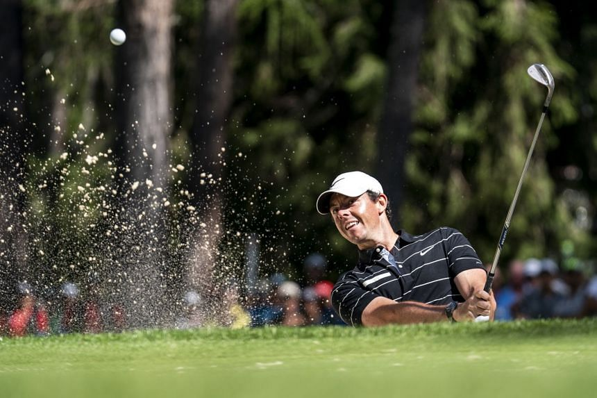 McIlroy in action during the second round of the European Masters golf tournament.