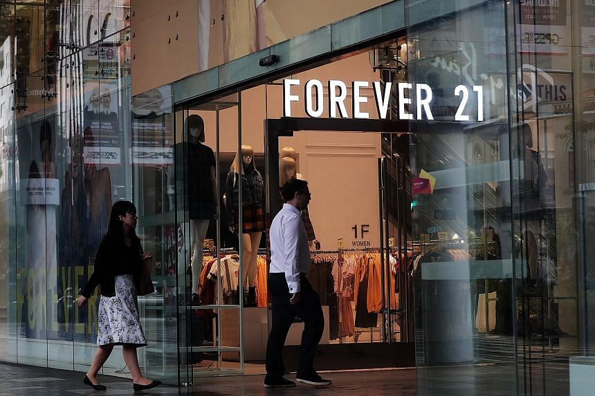 Forever 21 operates more than 800 stores in the United States (above), Europe, Asia and Latin America. PHOTO: BLOOMBERG While there used to be as many as four Forever 21 outlets in Singapore, all but one - at 313@Somerset (above) - have closed. The c