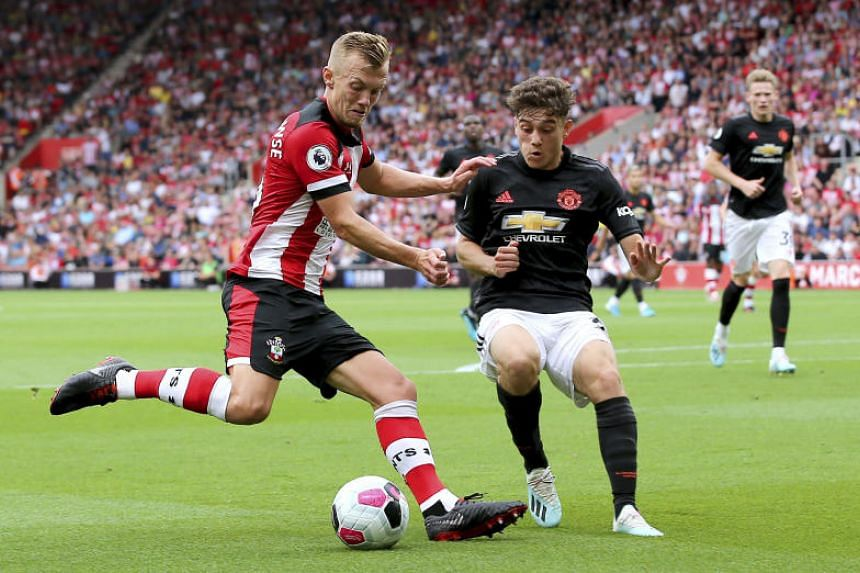Southampton's James Ward-Prowse (left) and Manchester United's Daniel James battle for the ball during their English Premier League clash, on Aug 31, 2019.