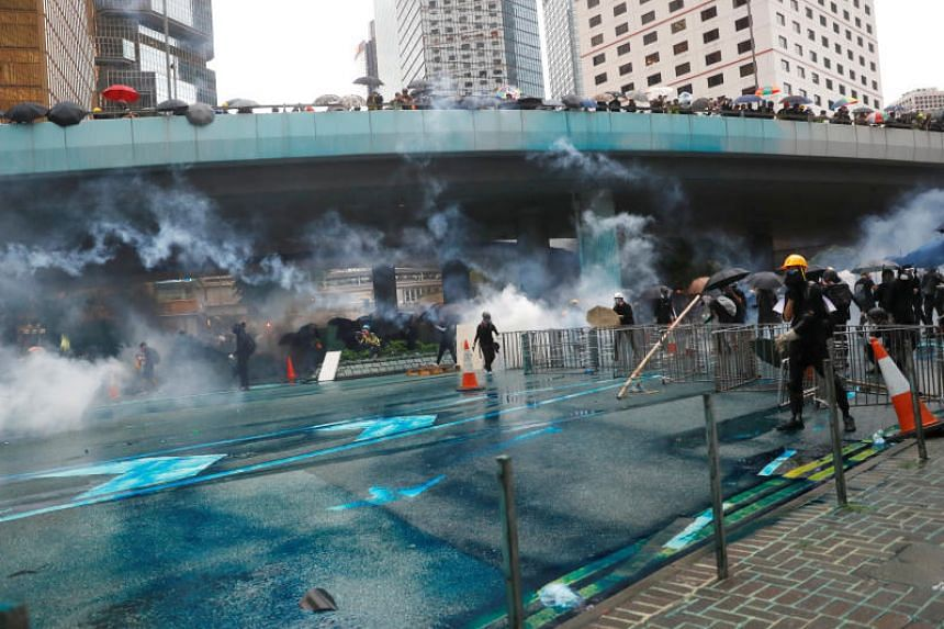 Hong Kong police fire a water cannon at protesters on Aug 31, 2019.