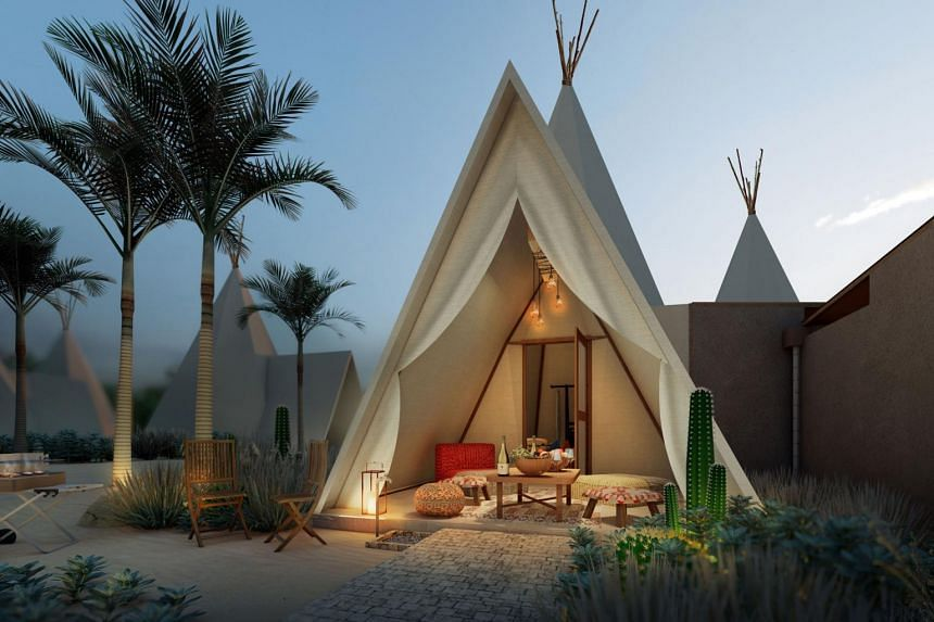 At The Anmon Resort Bintan, guests go glamping with a desert theme.