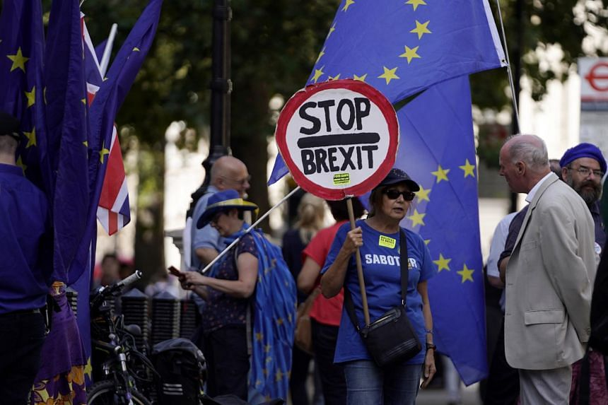 Anti-Brexit protesters outside the Cabinet Office in London on Aug 30, 2019. More demonstrations are expected on Aug 31.