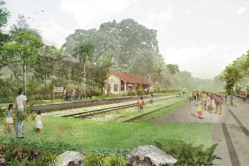 An artist's impression of Bukit Timah Railway Station, a key community node in the Rail Corridor.