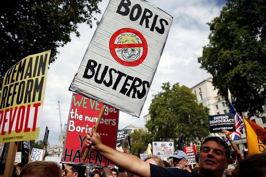 The demonstrations were organised by the anti-Brexit group Another Europe Is Possible and by Momentum, which is allied with the opposition Labour Party.