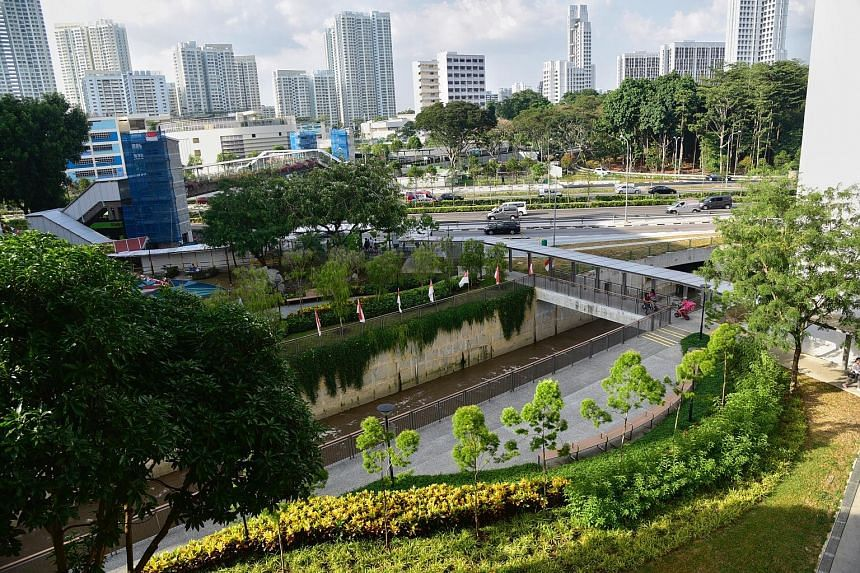 One of the three new rain gardens at the upgraded Sungei Pandan Kechil. The gardens slow down and treat surface run-off of water from the drains of HDB blocks before its discharge into the canals.