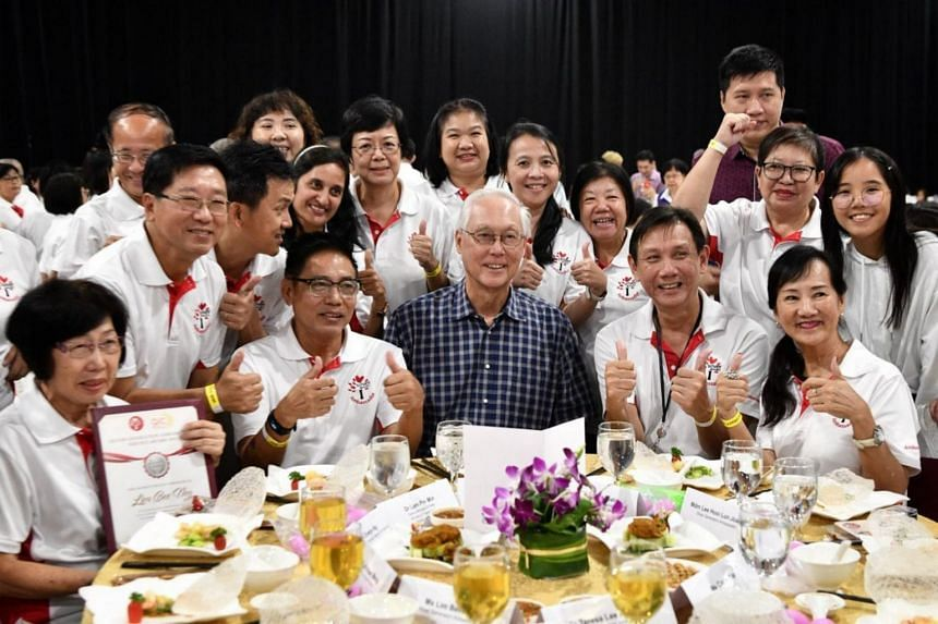 ESM Goh Chok Tong takes a group photo with some of the participants during the Silver Generation Office's (SGO) fifth anniversary lunch on Sept 1, 2019.