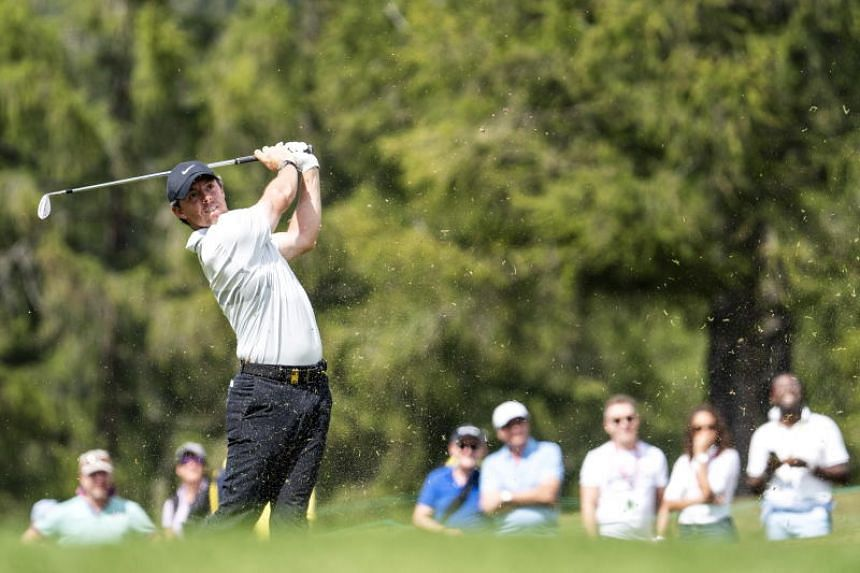 Rory McIlroy of Northern Ireland watches his approach shot during the third round of the European Masters golf tournament in Crans-Montana, Switzerland, Aug 31, 2019.