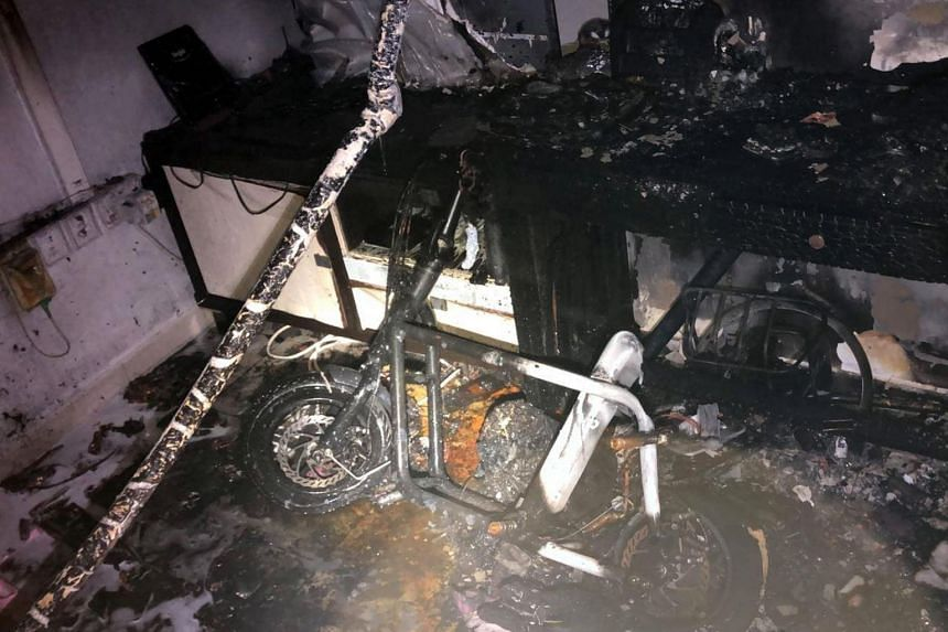 A fire broke out at a 12th-floor unit at Block 364B Sembawang Crescent on Aug 26, which preliminary investigations traced to a personal mobility device that was charging.
