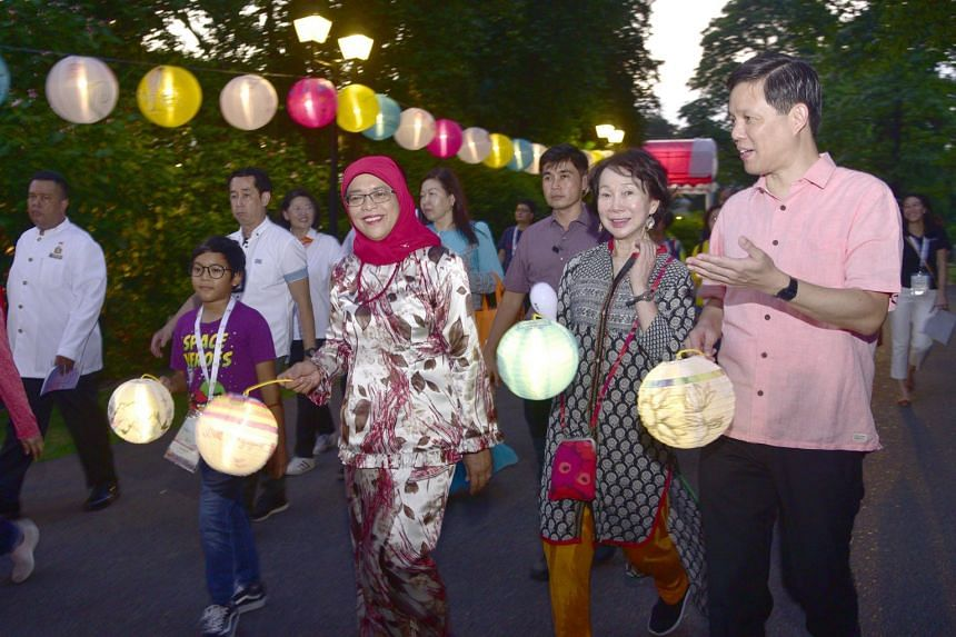 (From left) President Halimah Yacob, Project We Care CEOs Network Committee Chairperson Wee Wei Ling and Minister for Trade & Industry, deputy chairman of the People's Association Chan Chun Sing at the Istana on Sept 1, 2019.