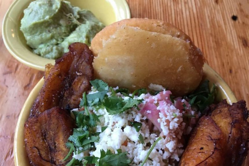 Teote is an eatery featuring Latin American street food, such as buttery corn cakes known as arepas which come with chorizo (above).
