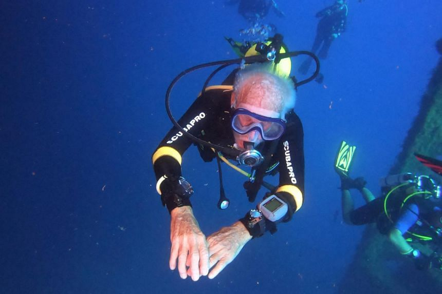 Mr Ray Woolley is seen underwater during a plunge to the Zenobia, a cargo ship wreck off Larnaca in Cyprus on Aug 31, 2019.