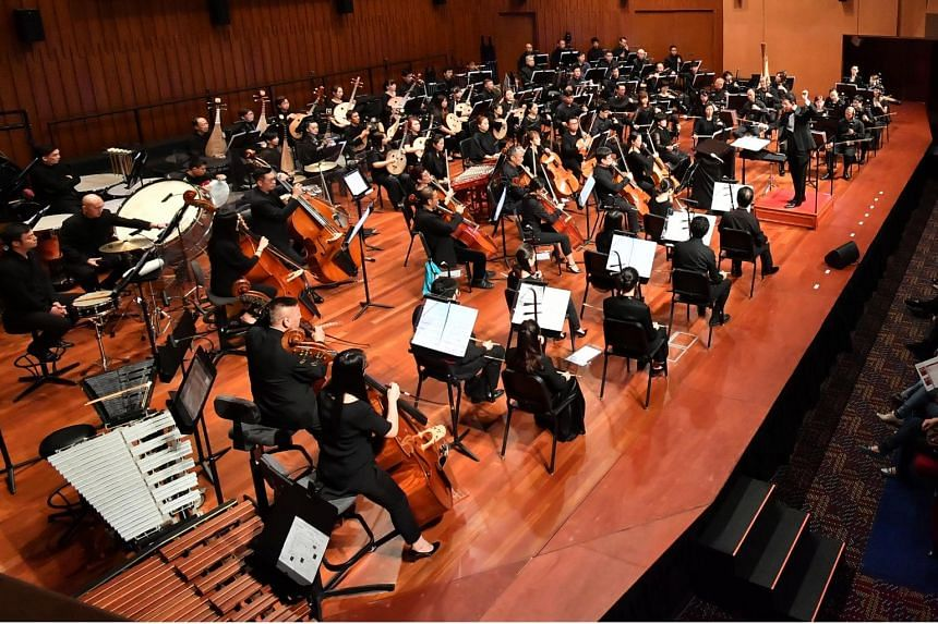In a photo from Sept 14, 2018, the Singapore Chinese Orchestra (SCO), with music director Tsung Yeh as conductor, perform at Lianhe Zaobao's 95th anniversary concert.