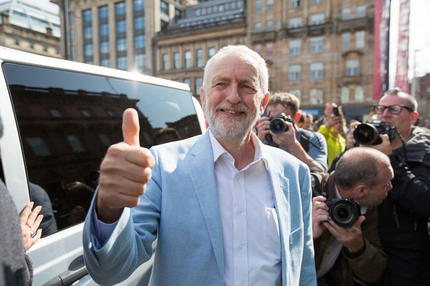British Labour party leader Jeremy Corbyn attends a Brexit protest in George Square, Glasgow.