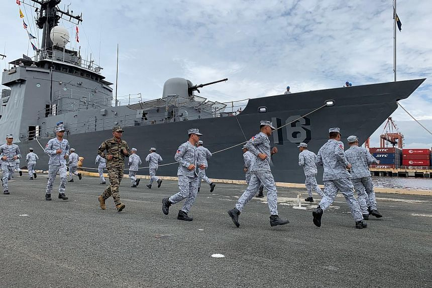 Philippine navy personnel taking part in a send-off ceremony for navy ship BRP Ramon Alcaraz (PS16) in Manila last Thursday. The ship will be part of the first-ever joint maritime exercise between the United States and Asean. The exercise, which star