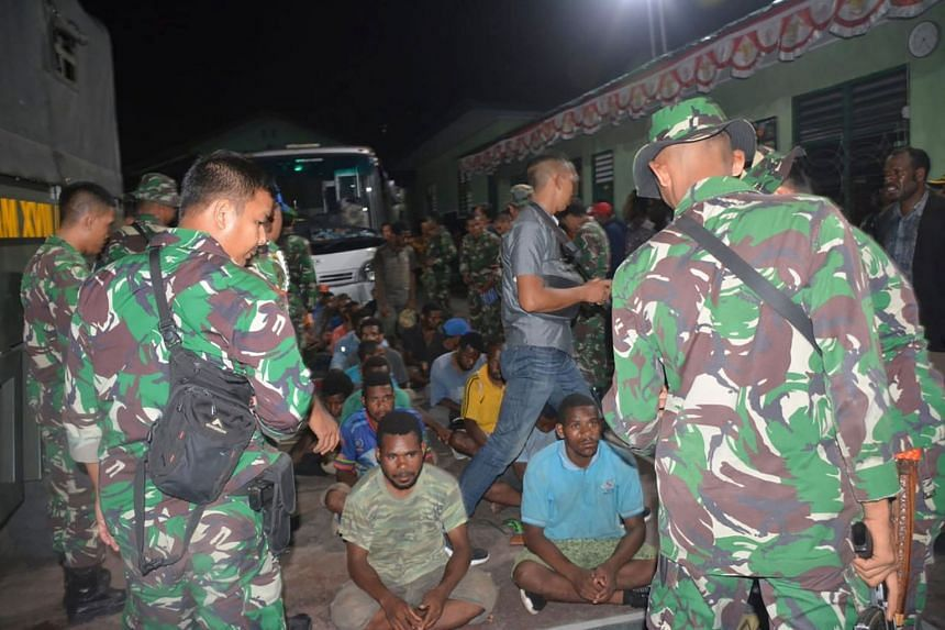 A group of Papuans, who took part in recent mass protests, seeking the military's help to return to their homes, in Jayapura, on Sept 1, 2019.