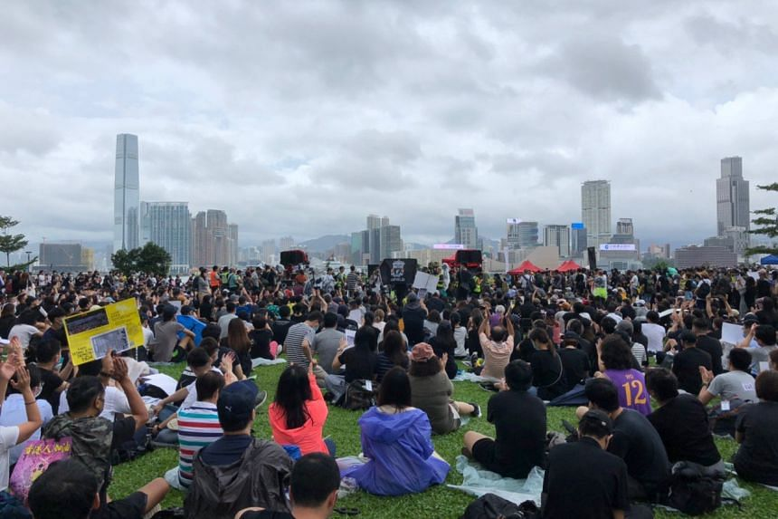 Protesters gather at Tamar Park in Admiralty, near Hong Kong's Legislative Council Complex, on Sept 2, 2019.