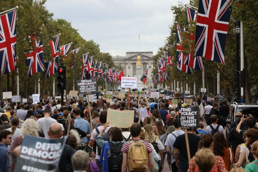 People in London protesting against the suspension of Parliament on Saturday. They were among the thousands of people who joined similar protests across Britain that day.