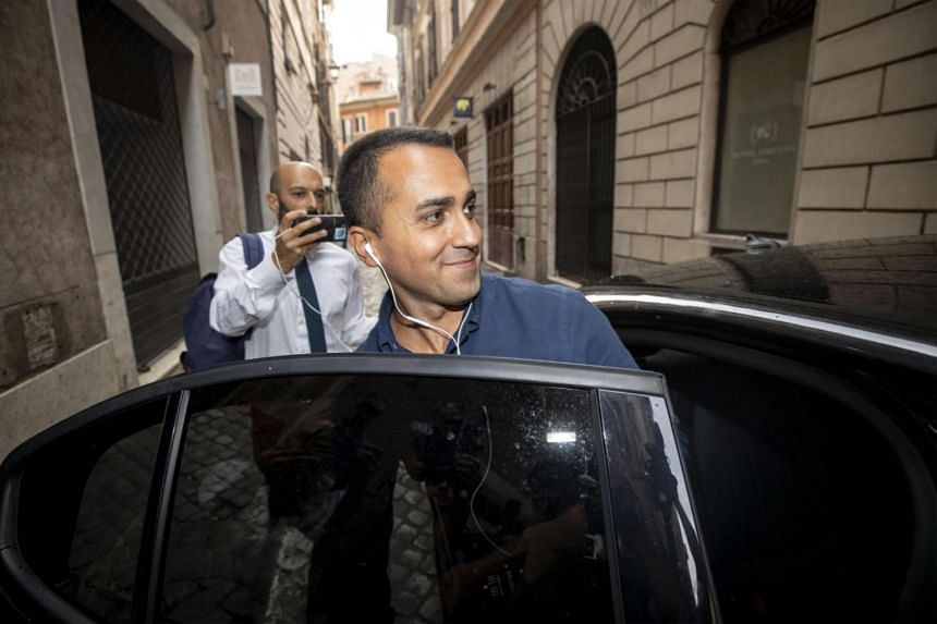 The political leader of the Five Star Movement Luigi Di Maio leaves an apartment in the center of Rome at the end of a meeting with the leaders of the M5s, Rome, Italy, on Aug 31, 2019.