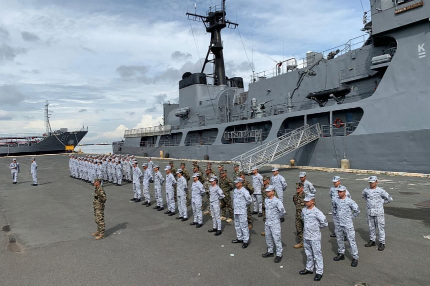 Filipino navy personnel stand in formation during a send-off ceremony in Manila, Philippines, on Aug 29, 2019.