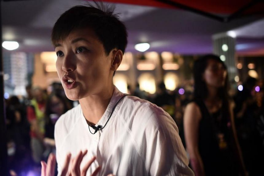 Hong Kong Cantopop singer, actress and LGBT activist Denise Ho speaks during a rally on Aug 28, 2019.