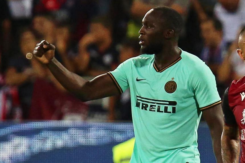 Romelu Lukaku appeared to be the target of monkey chants from the home crowd at the Sardegna Arena.