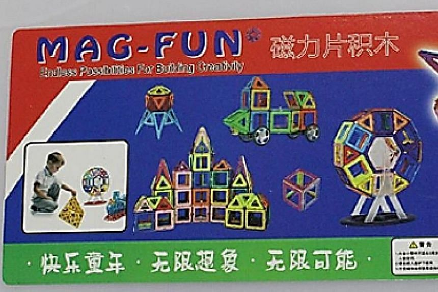 Toys such as Mag-Fun Magnetic Building Blocks (left) and Buckyballs Neocube Magnetic Balls can pose a danger to children, who may swallow them and be seriously harmed.