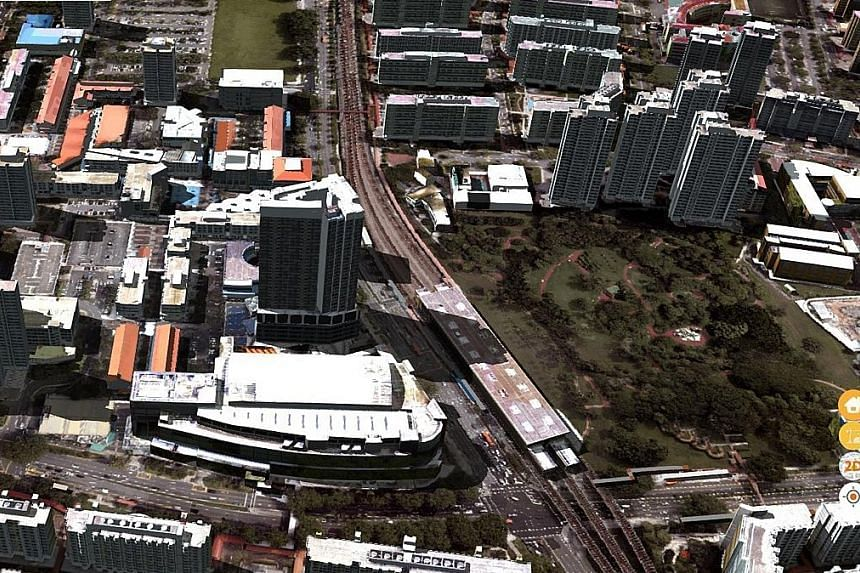 A 3D view of the area around Ang Mo Kio Hub (left) on the upgraded OneMap service and a 3D first-person view of the same area (right) that includes walkways and void decks. Instead of relying on real-life street photos, the 3D version of OneMap will