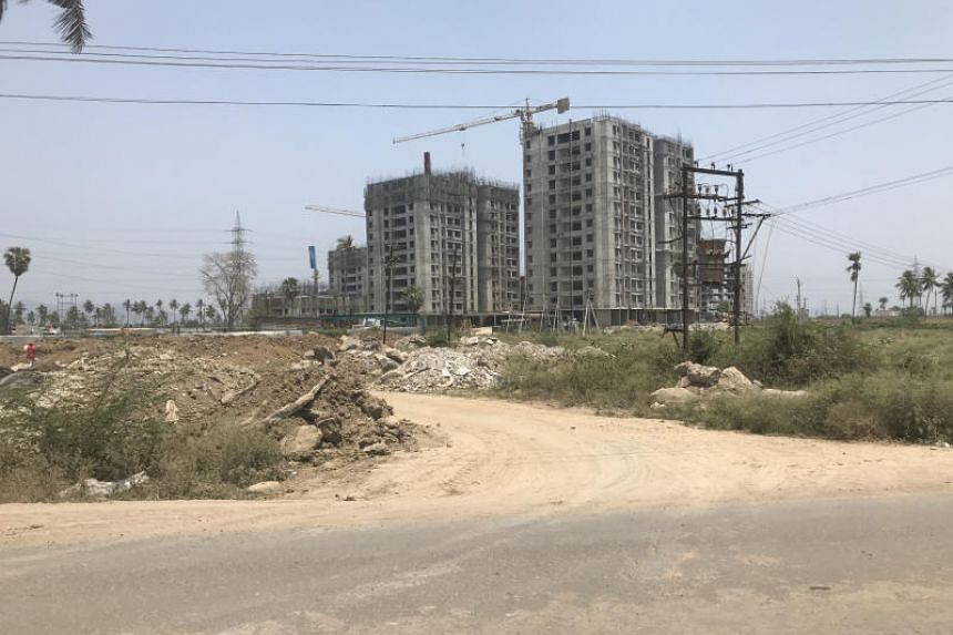 Building works in Amaravati, India. The Andhra Pradesh government had sought Singapore's help in 2014 to develop the city as the state's new capital. The project was disrupted after the chief minister lost power in an election in May.
