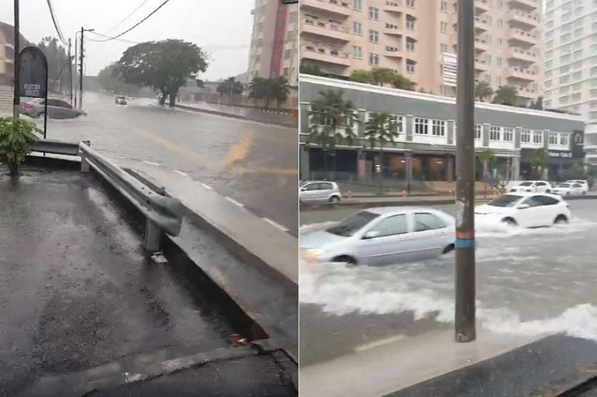 Several roads in the Penang capital of George Town were affected by the floods.