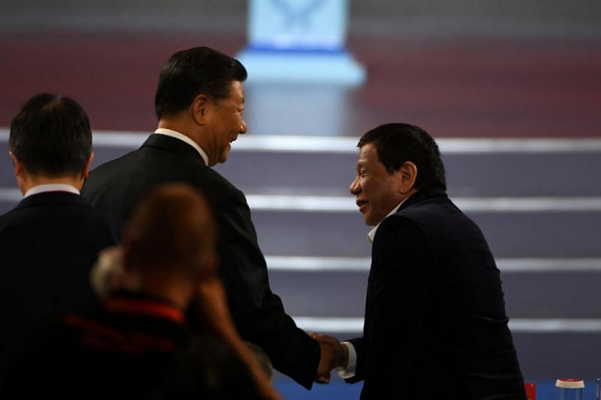 Chinese President Xi Jinping and Philippine President Rodrigo Duterte at the opening ceremony of the Fiba Basketball World Cup 2019 in Beijing on Aug 30, 2019.